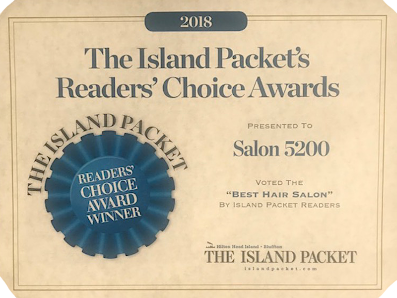 Island Packet Readers Choice Award 2018 Salon 5200 Best Hair Salon Hilton Head Island