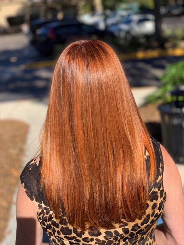 Balayage, Brazilian Blowout, and root color by Emehlia Jimenez Salon 5200 Hilton Head Island